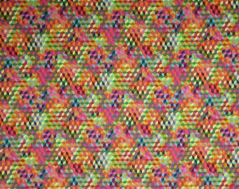 Vivid Small Geometric Tumbling Blocks Design Print Pure Cotton Fabric--One Yard