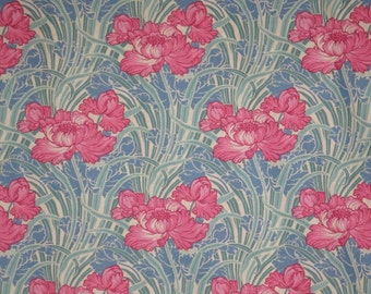 Pink and Blue Cabbage Rose Print Pure Cotton Fabric-One Yard