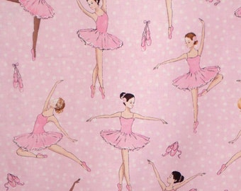 Pink on Pink Ballerina Print Pure Cotton Fabric from Timeless Treasures--One Yard