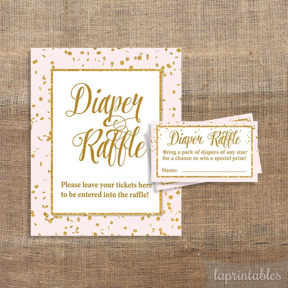 pink and gold glitter confetti diaper raffle by laprintables