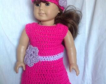 Doll dress and hat set