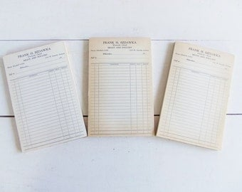 Vintage Receipt Pads From Butcher Shop, General Store Receipt Pad