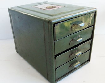 RESERVED FOR DEB Vintage File A Way Metal Green Metal Parts Drawers