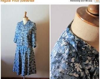 50% OFF SALE vintage 1940s light blue and white floral SKETCHES jacket and skirt set / 40s hand made suit