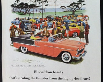 Chevrolet Bel Air Car Ad 1950's Vintage