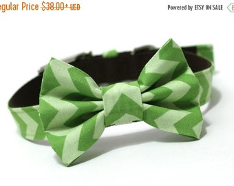 BIG SALE Dog Bowtie, Bow tie Dog Collar- Green Chevron