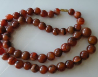 "Agate round beads necklace. 23 1/2"" long"