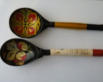 2 Russian wooden spoons. Hand painted. Folk art.
