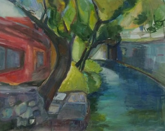 Vilnius river in Uzupus- Landscape original oil painting on canvas - 24 × 32 inches- not framed