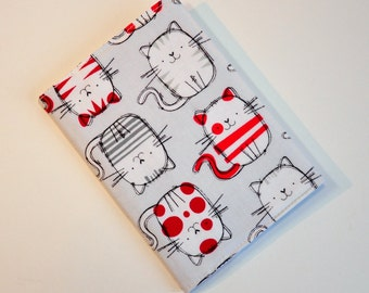 Passport Cover Sleeve Case Holder  Cotton Fabric Kitty Mousepad Cat grey and white and red