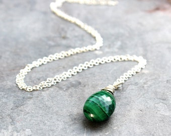 Malachite Necklace Pendant Drop Gemstone Sterling Silver Emerald Green Natural Stone Necklace