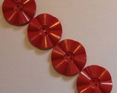 4 Vintage Large Red Buttons Sewing Craft Scrapbooking Altered Art Mixed Media Assemblage Collage Supplies