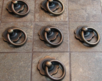 Vintage drawer ring pulls cabinet handles Set of 6
