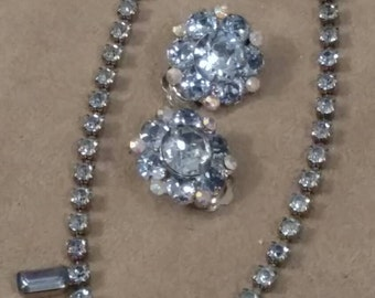 Vintage Pastel Blue Rhinestone Choker, Stamped Rosenberg Clip On Earrings, 2 Piece Set, Romantic, Great Condition