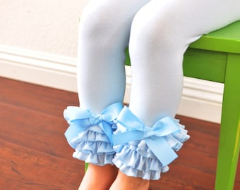 Light Blue Leggings with Full Ruffles / Baby Girls Leggings---0M-18M
