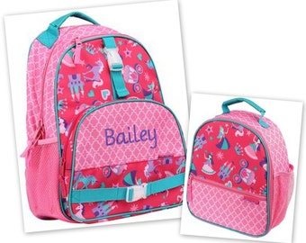 Personalized Monogrammed Stephen Joseph All over print Princess Backpack and Lunch tote combo--Fast Turnaround--Free Monogramming--