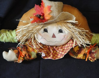 Fall Harvest, Primitive Scarecrow, fabric cloth doll with fall colors, orange, yellow, green colors, burlap hat