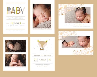 Foxy Baby 5x7 Birth Announcement Cards