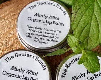 Minty Mint Organic Lip Balm ~ .5 oz Screw Top Tin ~ Reiki Enhanced