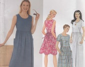 Dress Pattern Pockets Gathered Waist Sleeves or Sleeveless Misses Size 8 - 14 Uncut Simplicity 9743