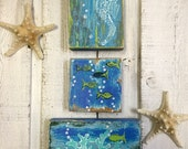 Original Painting Seascape Art Block Set of 3 Seahorse Fish Coral Beach House Decor by CastawaysHall - Ready to Ship