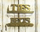 Brass Tie Rack Belts Holder Signs Vintage Hooks Set of 2 CastawaysHall READY TO SHIP