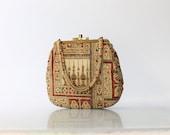 1950s Ingber Tapestry Handbag // 50s Vintage Novelty Print Top Opening Purse