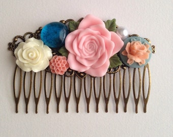 Pink and Navy Bridal Wedding Country Rustic Gift Antique Brass Hair Comb Accessory