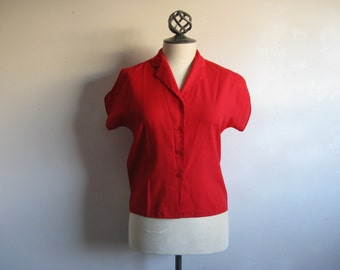 Vintage 70s Blouse Red 1970s Cap Sleeve Summer Top Small