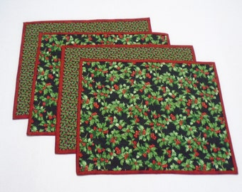 Quilted Placemats, Winter Christmas Quilted Placemats, Christmas Placemats, Holiday Placemats, Handmade Quilted Placemats, Black Red Green