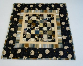 Elegant Quilted Table Topper, Table Runner, Black and Gold, Playful Cats and Kitties