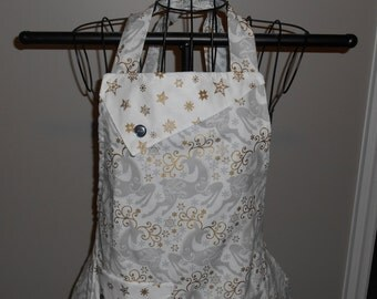 Silver and Gold Reindeer Women's Apron