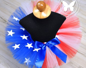 Girls American Flag Tutu...4th of July Tutu...Stars and Stripes Tutu...Adult Red, White and Blue Tutu with Stars...MISS AMERICA