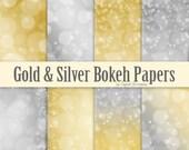 Bokeh digital paper Gold bokeh Silver bokeh Gold digital paper Silver digital paper Gold and silver digital paper