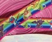 "Baby Dragons Cartoon Printed Grosgrain Ribbon/7/8 ""( 22 mm ) width/Hair Bow DIY /Headband DIY/Kids Craft supplies"