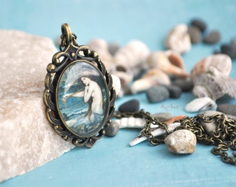 Mermaid necklace - vintage blue necklace, resin jewelry, gift for her girl, long chain brass, sea history print - made to order