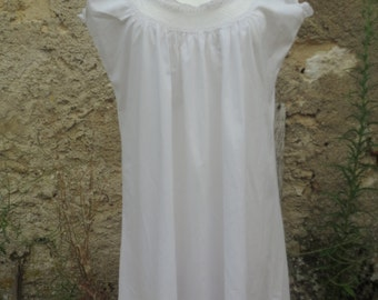 french vintage summer cotton nightgown,cool summer dress, hand stitched, lace trimmed