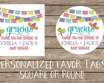 Olé Olé a Baby is on the Way Favor Tags Mexician Spanish Fiesta Baby Shower - DIY Printing or Professional Prints