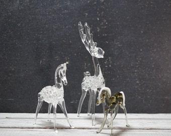Spun Glass Reindeer and Horses