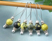 Knitting Stitch Markers, Yellow Turquoise Semi-Precious Stones, Snag Free, Large Size, Jeweled Tool, Knitting Accessory, Supplies, Handmade