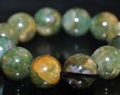 12 Pieces 10mm Charming~Natural Ruby Red Green RUBY In FUCHSITE Round Beads - E1040