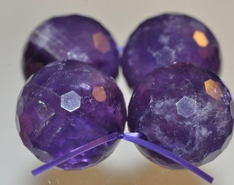 Listed @ 12% Off Sale Was 17.25---4 Beads 15~16mm High Vibrant~Brazilian Royal PURPLE AMETHYST Faceted Large Round Beads - L1017