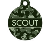Personalized Pet ID Tag - Scout Army Green Camo Custom Name Pet Tag, Dog Tag, Cat Tag