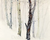 WINTER TREES in Snow Watercolor Print by Dean Crouser