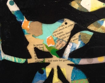 Original Framed Collage Mixed Media Painting Birds with words