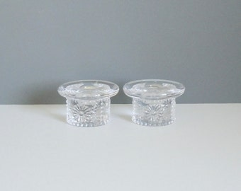 Pair of '70s Vintage Boda Glasbruk Sweden Daisy Pattern Candle Holders