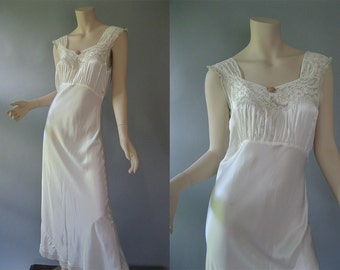 1940s Bias Cut Satin Rayon Nightgown - Vintage Ivory Long Gown - Lady Leonora S