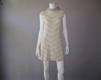 Mod Knit 60s Dress - Vintage 1960s  A Line Shift Metallic Dress - Holiday Dress - Mad Men