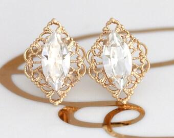 Dainty Bridal Earrings, Gift For her, Clear Crystal Studs, Gold Lacy Studs, Swarovski Earrings, Bridesmaids Earrings, Bridal Earrings