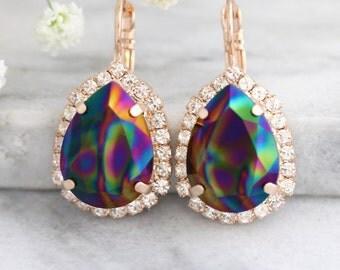 Rainbow Earrings, Peacock Earrings, Bridal Swarovski Earrings, Black Green Earrings, Rainbow Drop Earrings, Gift For Her, Drop Earrings